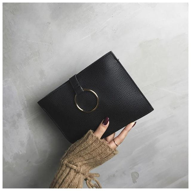 Women's Fashion Leather Simple Clutch Bag Female Handbag Solid Small Crossbody Bag evening clutch bags bolsas feminina-ivroe