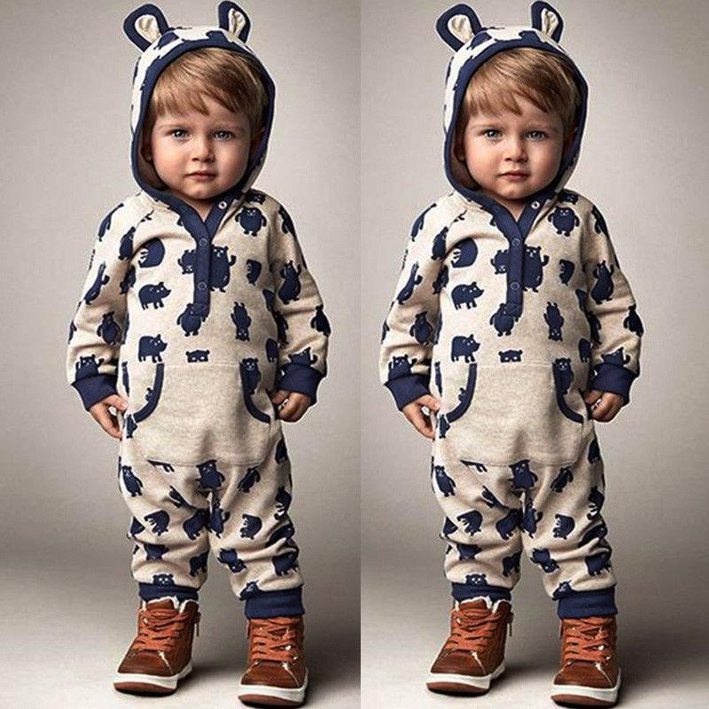 0-18M Newborn Infant Baby Boy Girl Kids Clothes Cotton Long Sleeve Hooded Romper Jumpsuit Outfit-ivroe