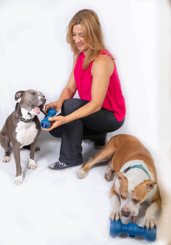 Johnna and her dogs with Bully Buddy