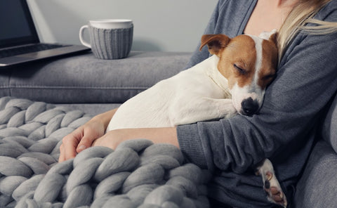 Woman cuddling with dog