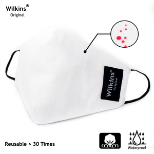 Wilkins Liquid-repellent Reusable and Washable Cotton Mask (WHITE) [10 pcs/pack]