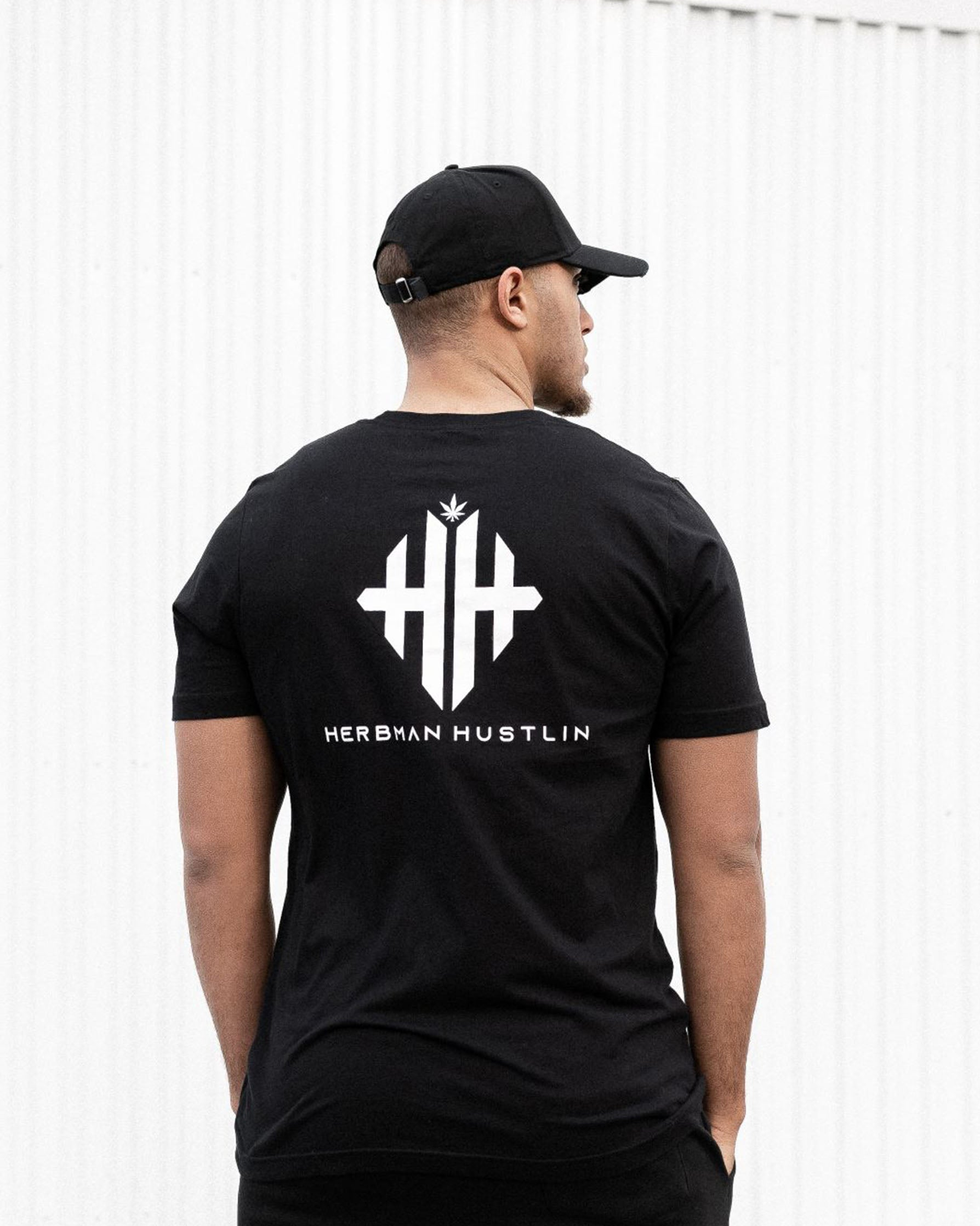 Herbman Hustlin Monogram Back Print Tee - Black/White - Back