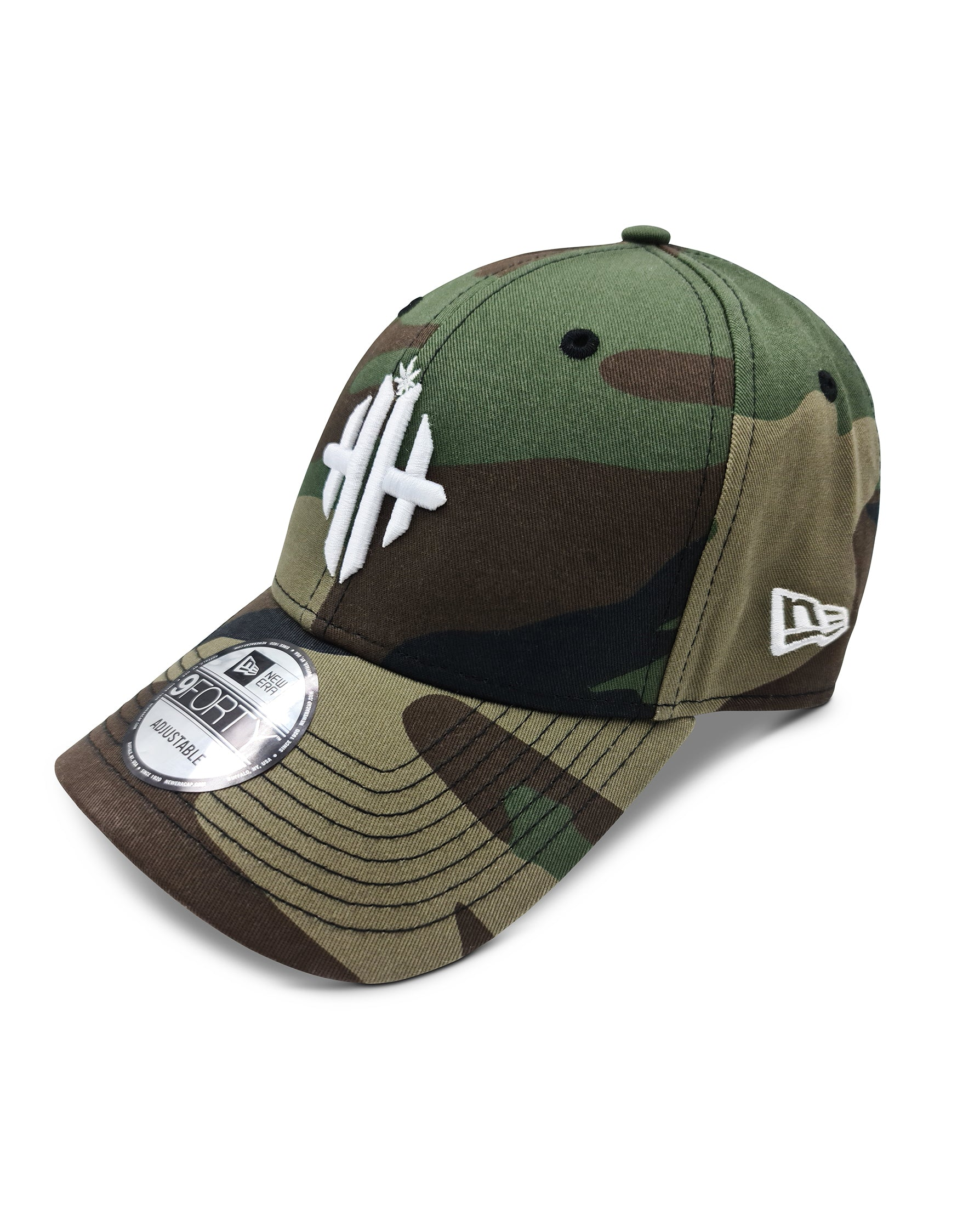 Herbman Hustlin x New Era 9FORTY® Monogram Cap - Green Camo/White - LIMITED EDITION - Front