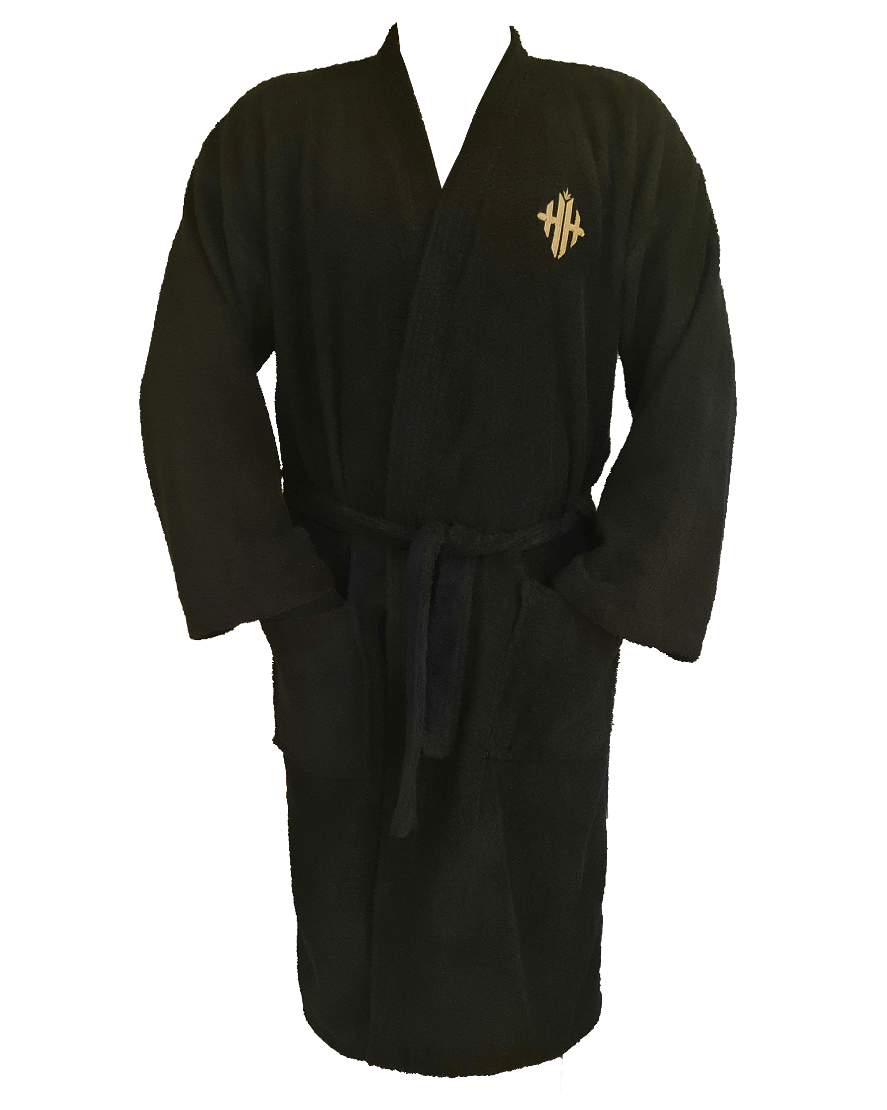 Monogram 'High Hefner' Unisex Bath Robe - Black/Metallic Gold