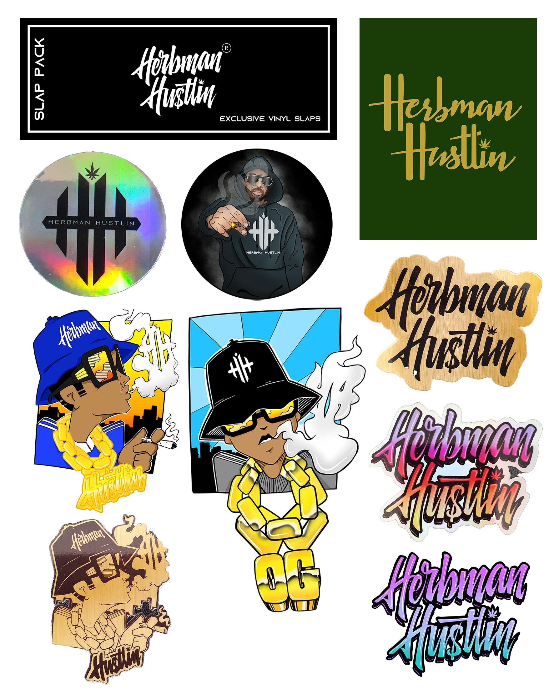 Herbman Hustlin Assorted 9 Sticker Slap Pack