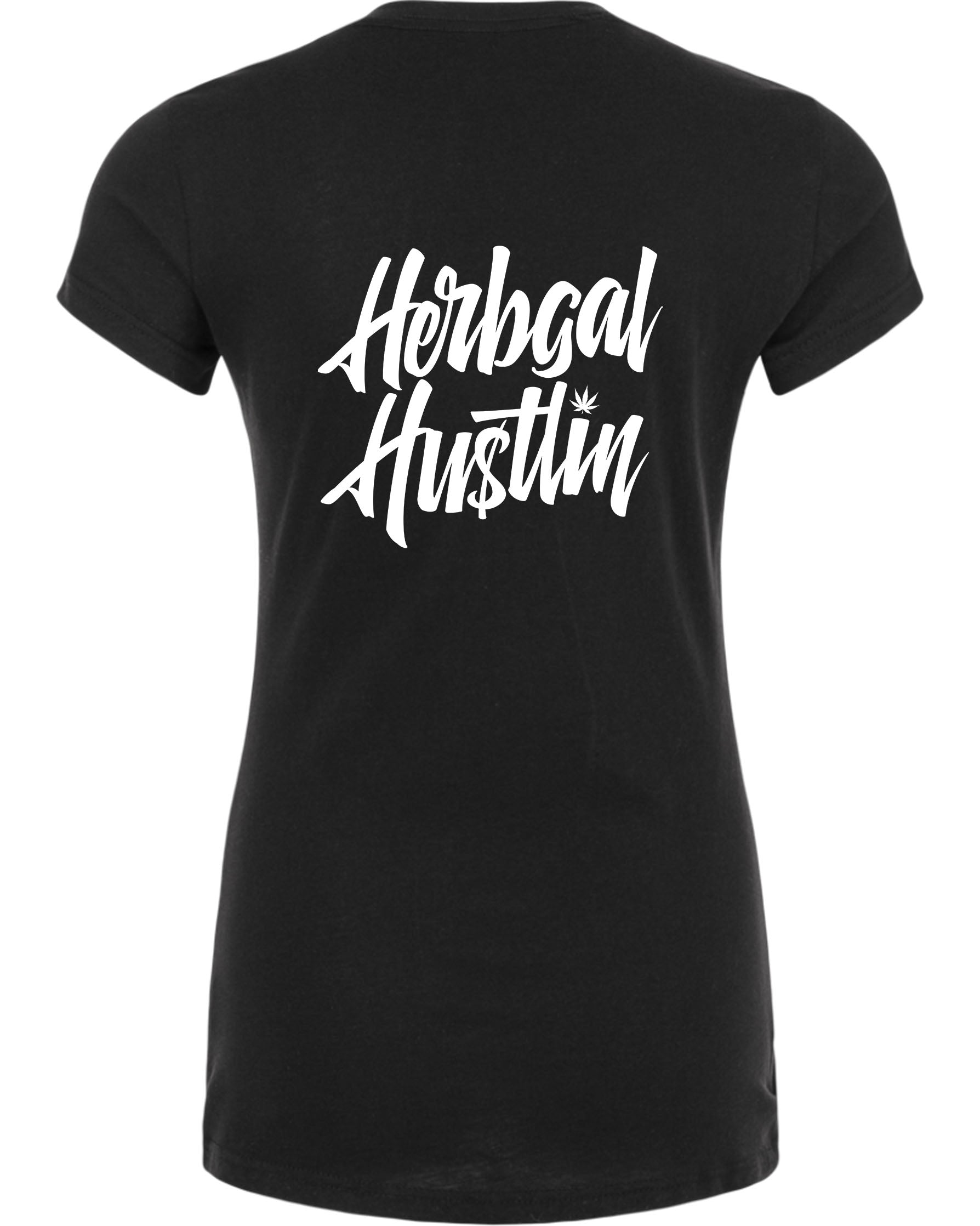 Herbgal Hustlin Script V Neck Tee - Black/White - Front