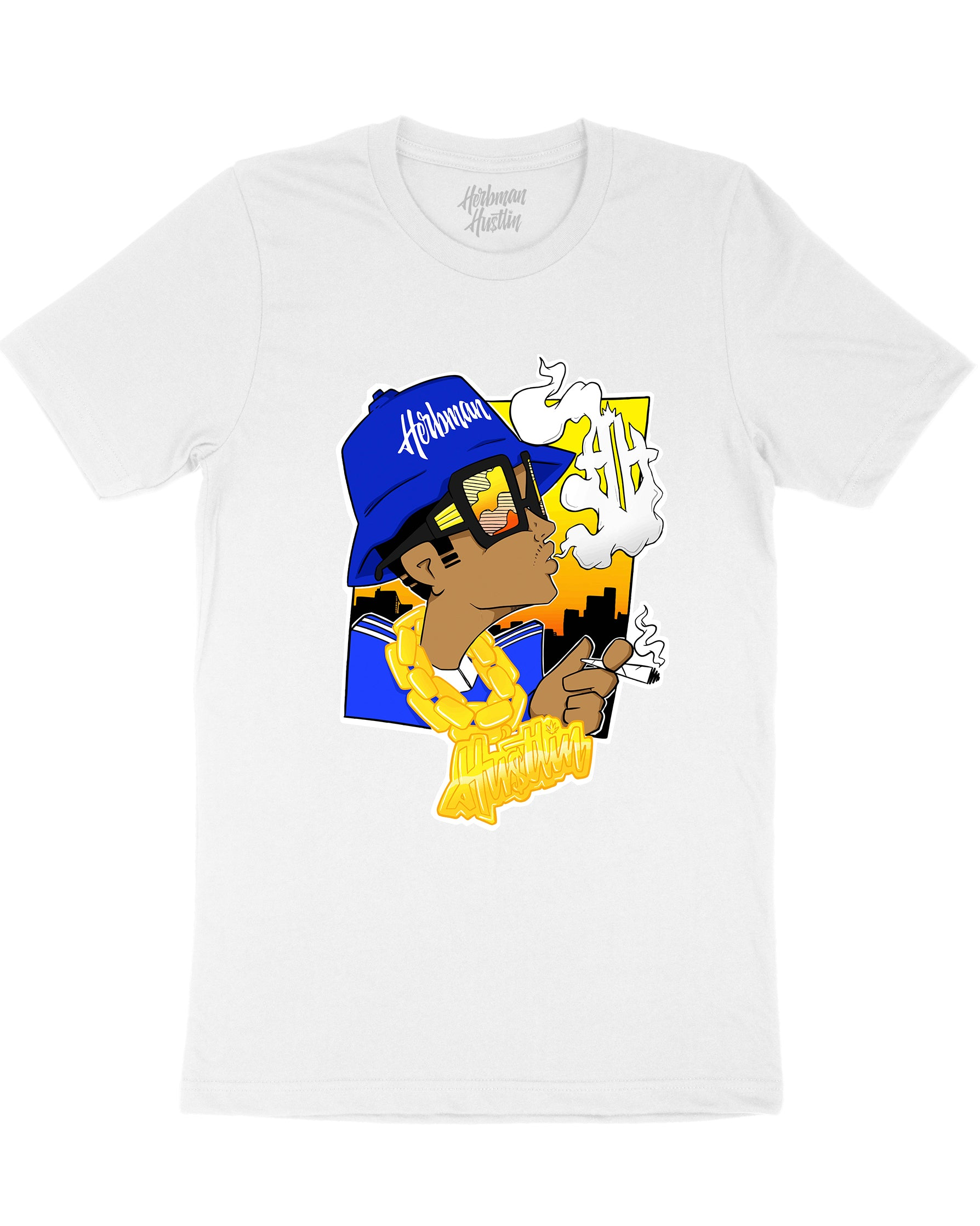 Herbman Hustlin B-Boy Front Print Tee - White/Colour - Front
