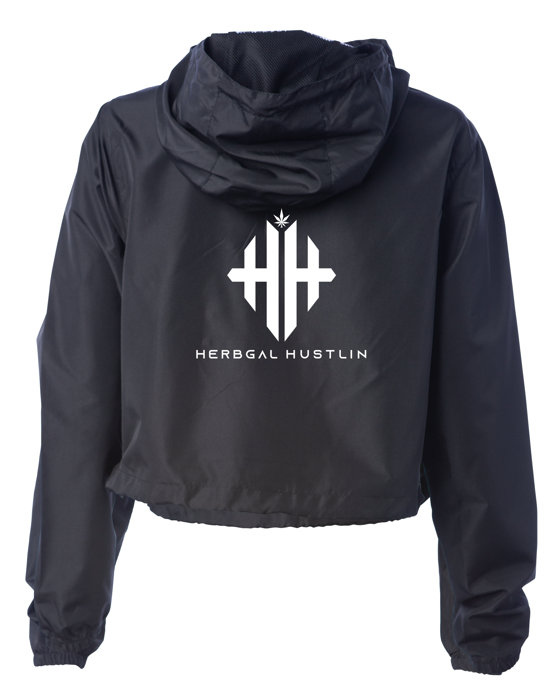 Herbgal Hustlin Lightweight Waterproof  Cropped Windbreaker - Black/White