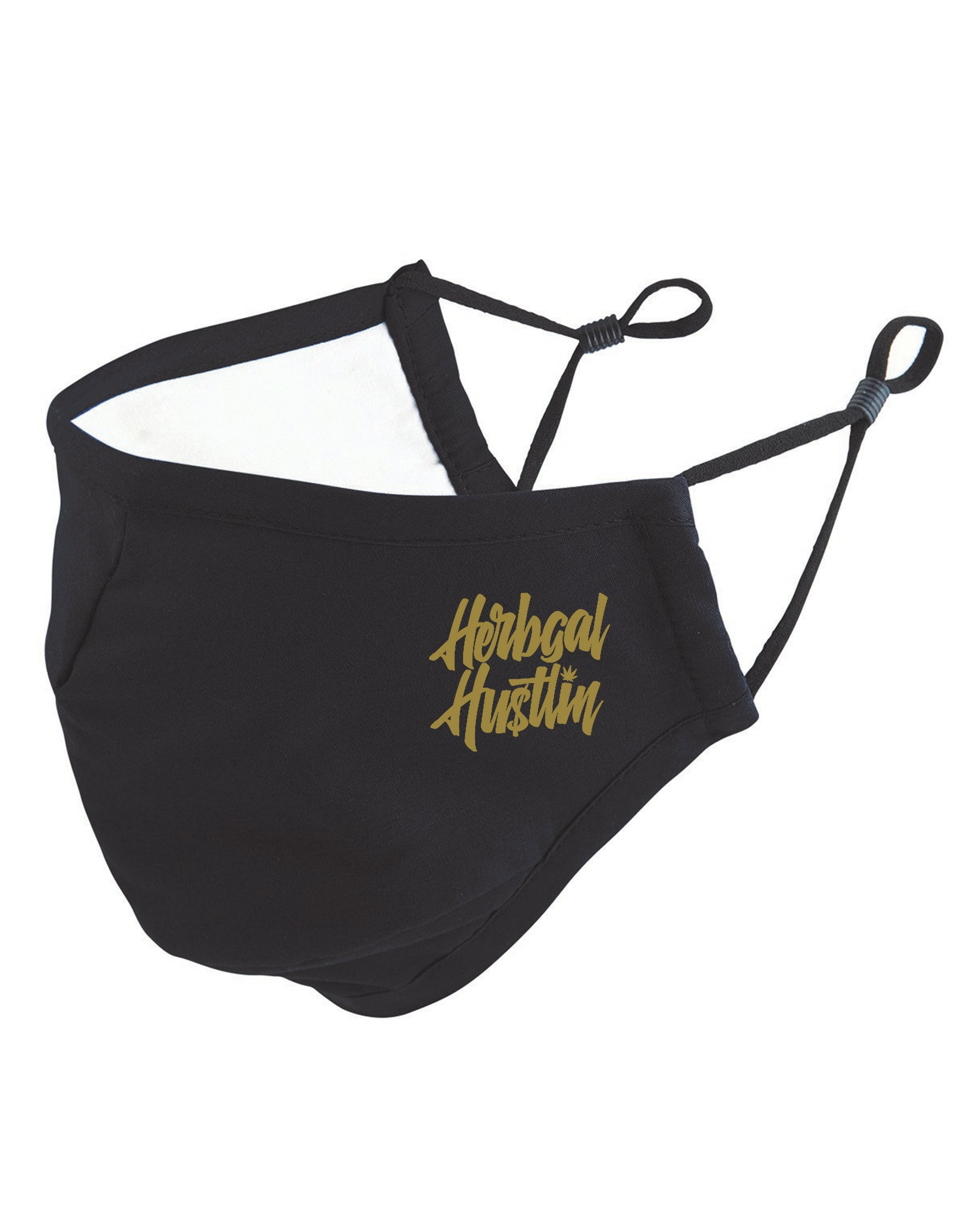Herbgal Hustlin Script 3 Layer Mask - Black/Gold - Front
