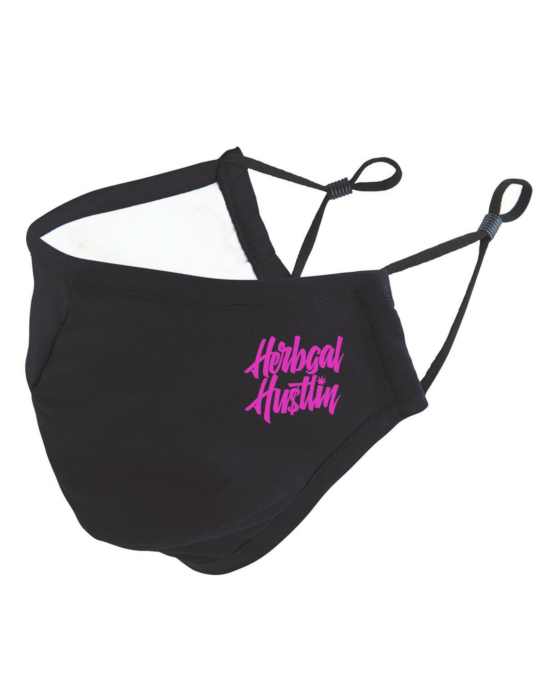 Herbgal Hustlin Script 3 Layer Mask - Black/Pink - Front