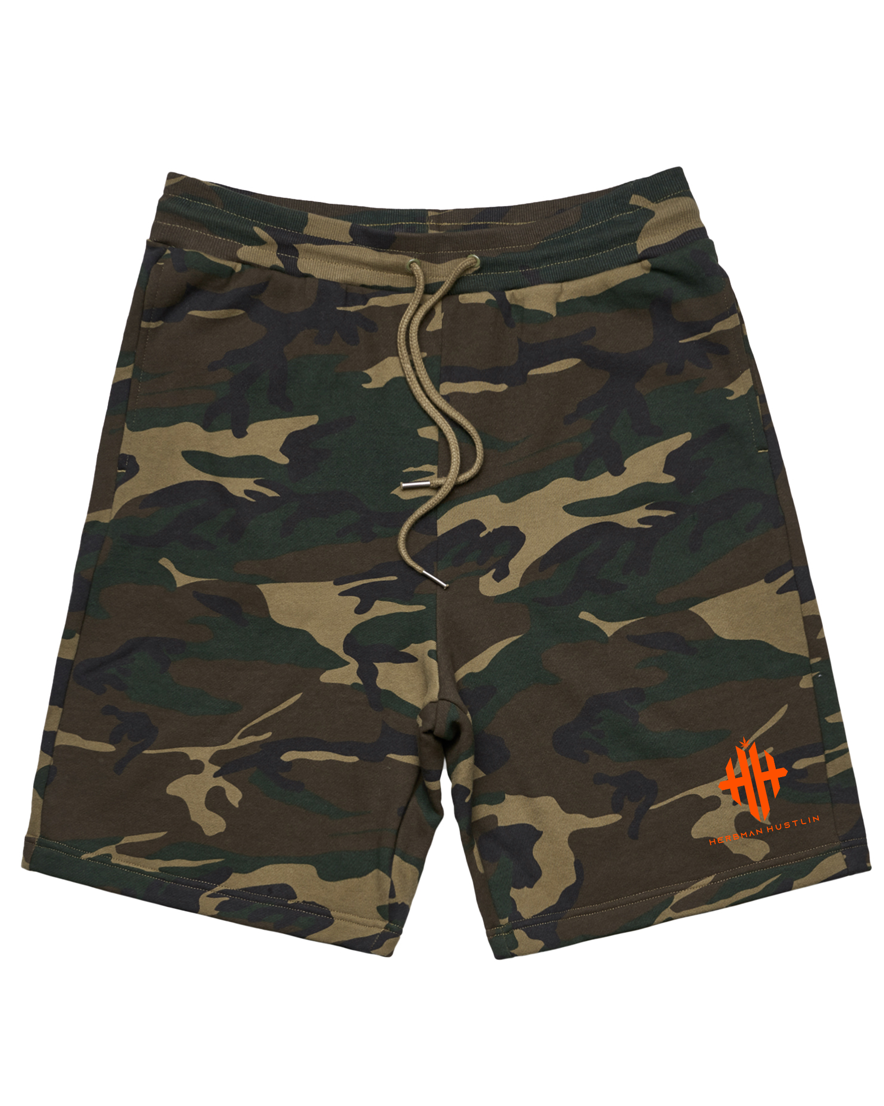 Herbman Hustlin Monogram Heavyweight Shorts - Camo/Orange - LIMITED DROP