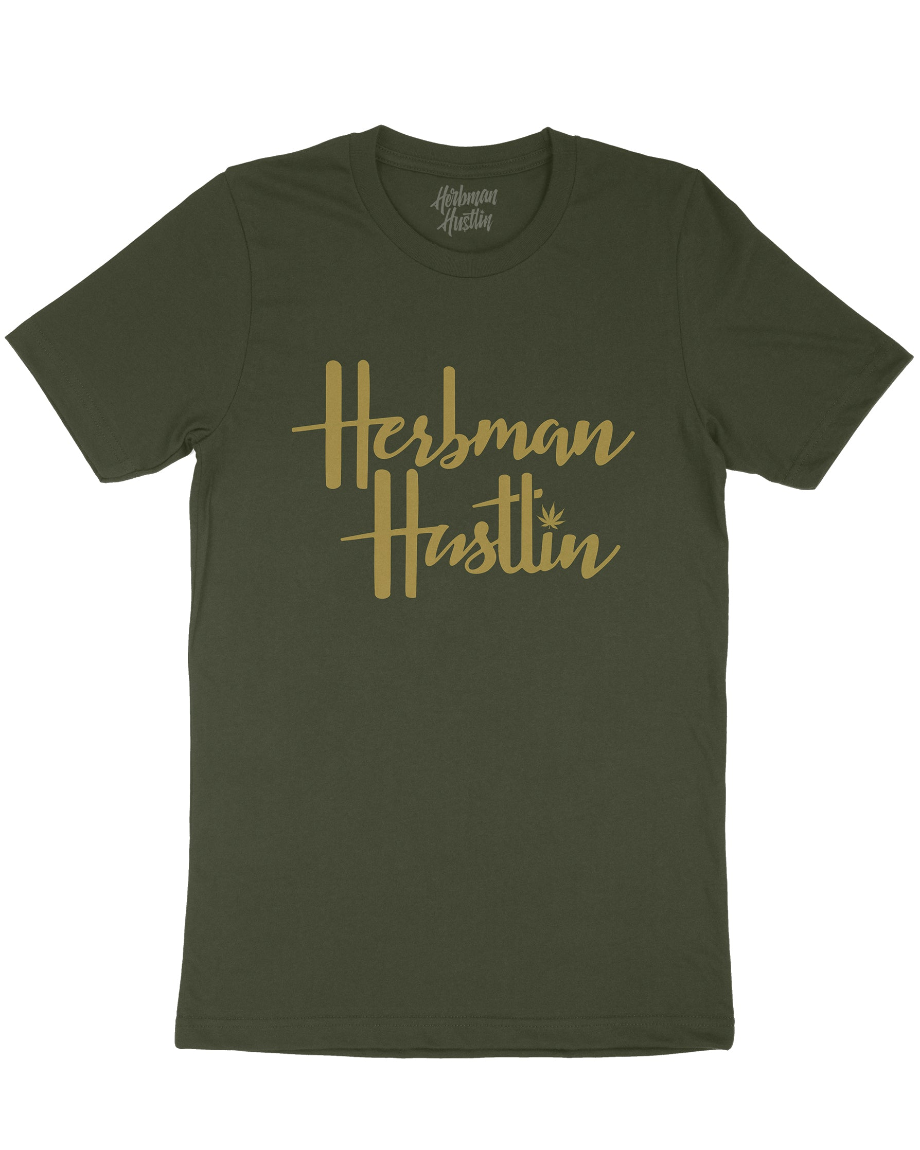 Herbman Hustlin 'It's a London Thing' LIMITED EDITION Tee - Green/Gold - Front