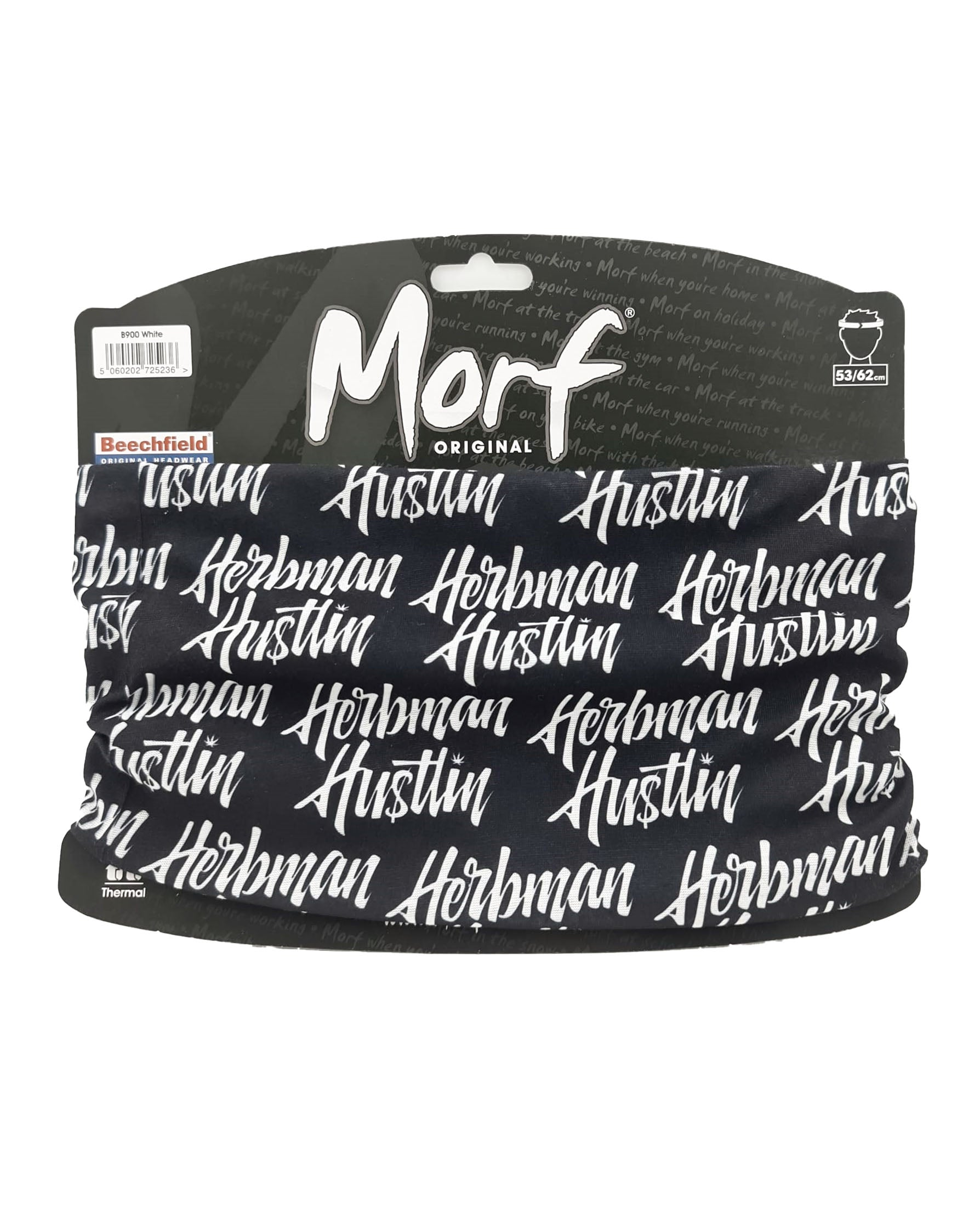 Herbman Hustlin Script Face Covering/Bandana - Black/White