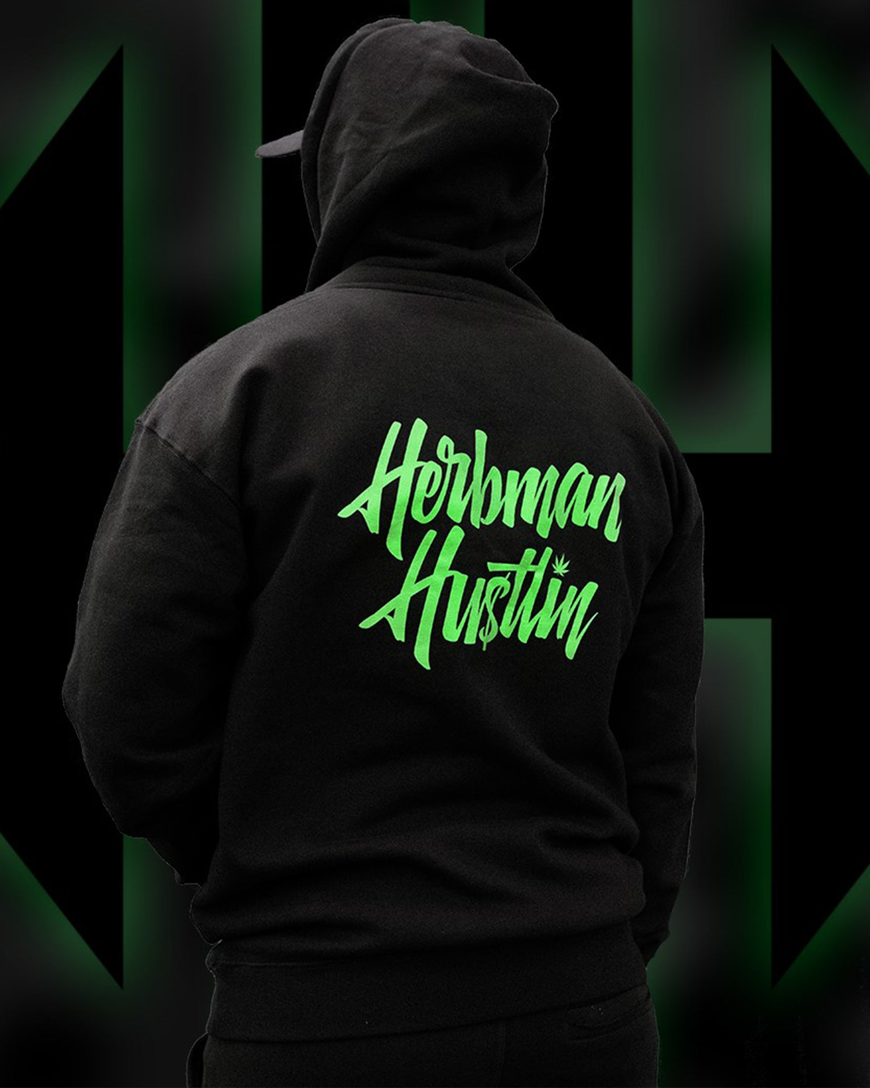 Herbman Hustlin Script Hoodie - Black/Glow in the Dark - LIMITED EDITION