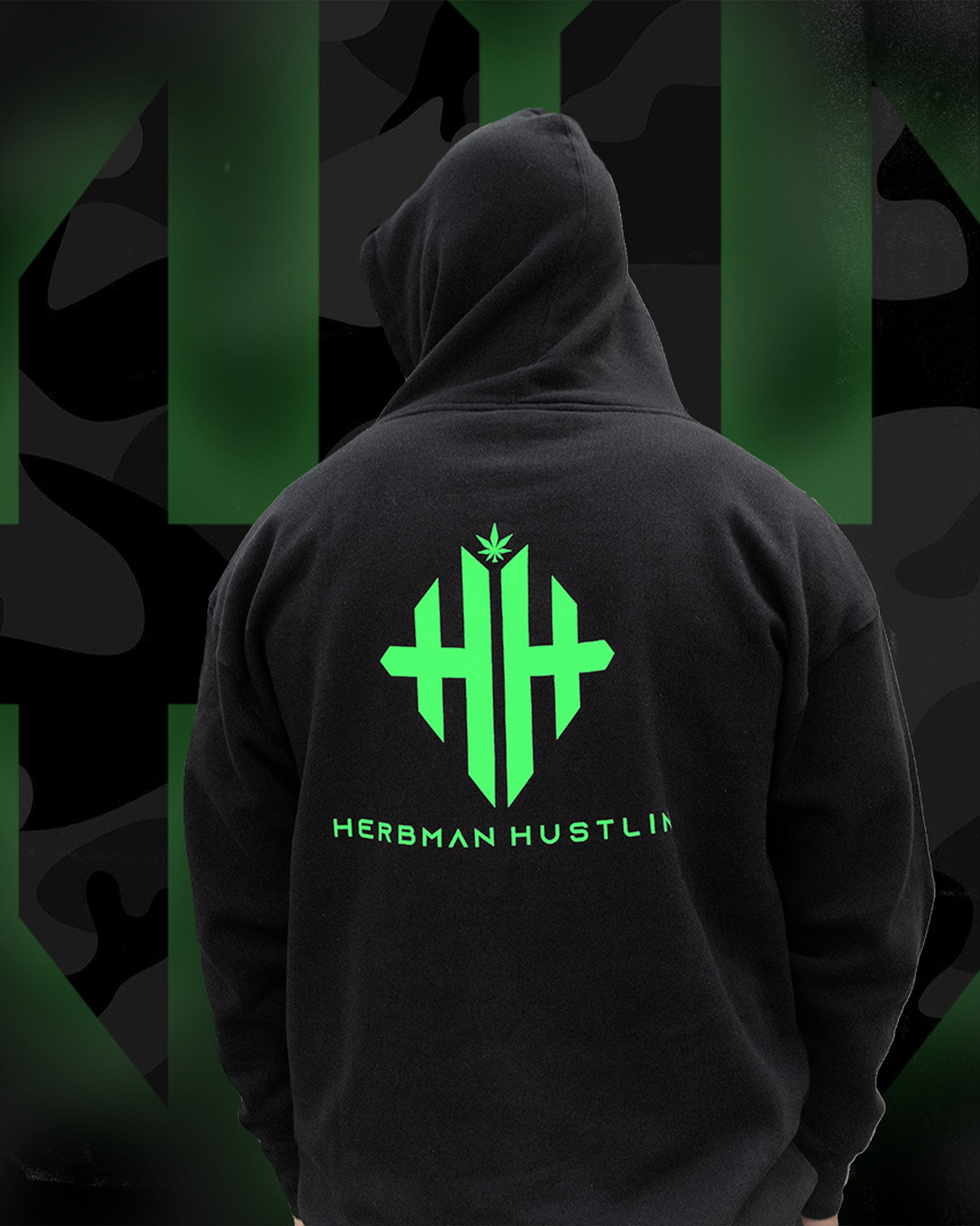 Herbman Hustlin Monogram Tracksuit- Black/Glow in the Dark - Back