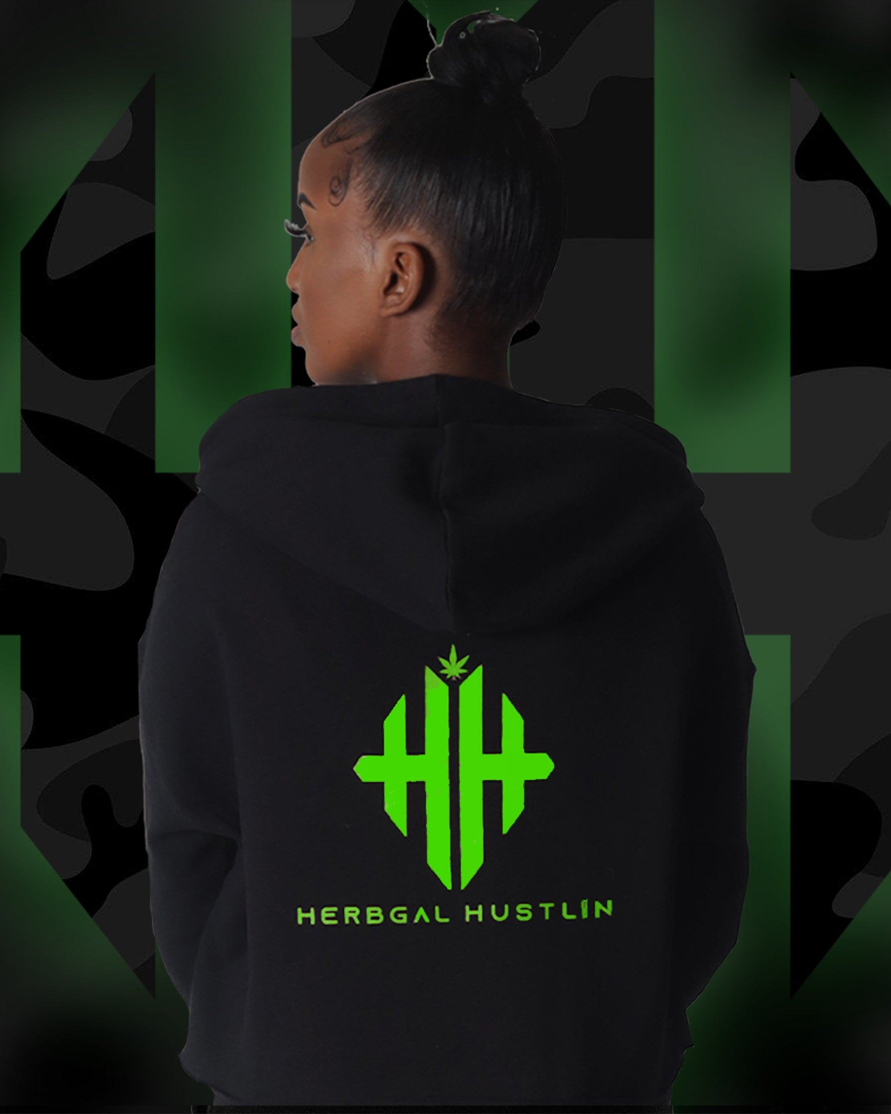Herbgal Hustlin Monogram Tracksuit Top - Black/Glow in the Dark - Back