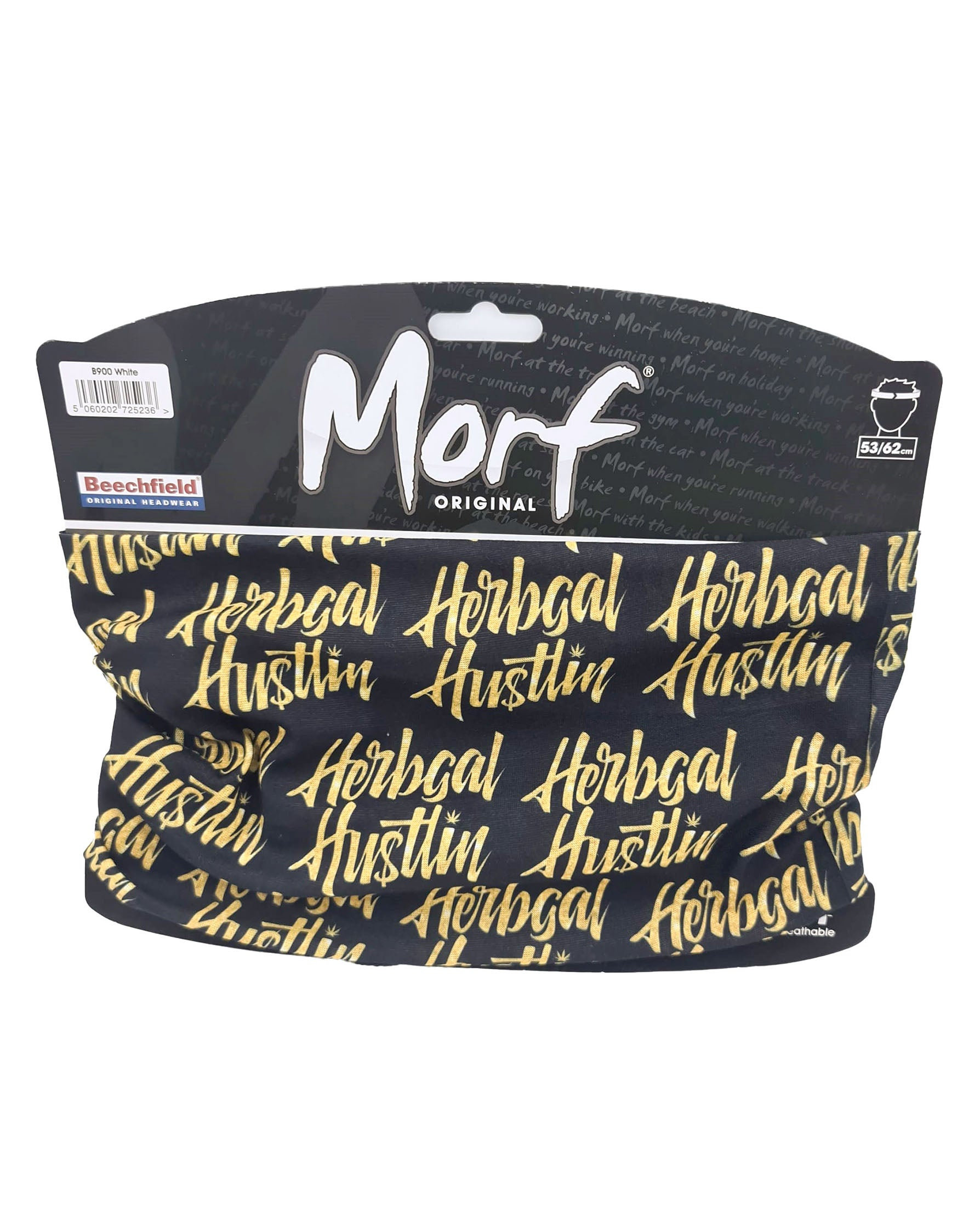 Herbgal Hustlin Script Face Covering/Bandana - Black/Gold
