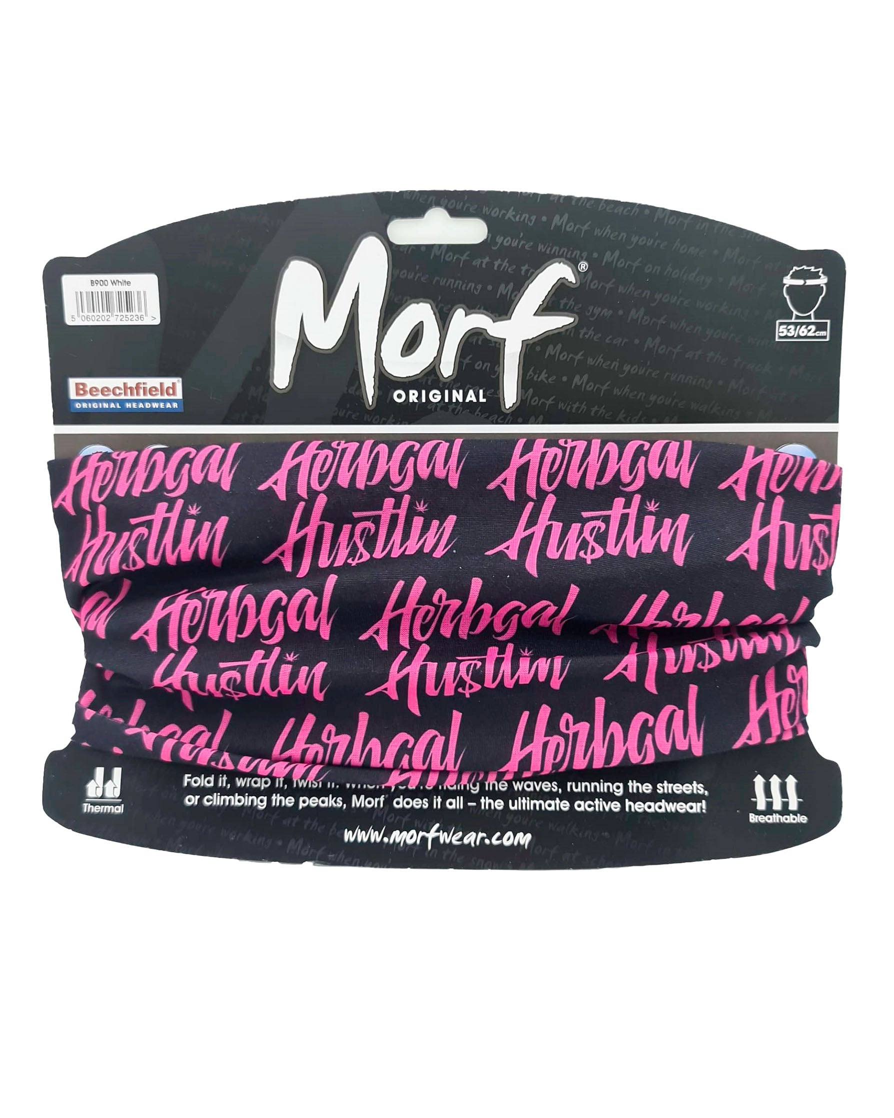 Herbgal Hustlin Script Face Covering/Bandana - Black/Pink