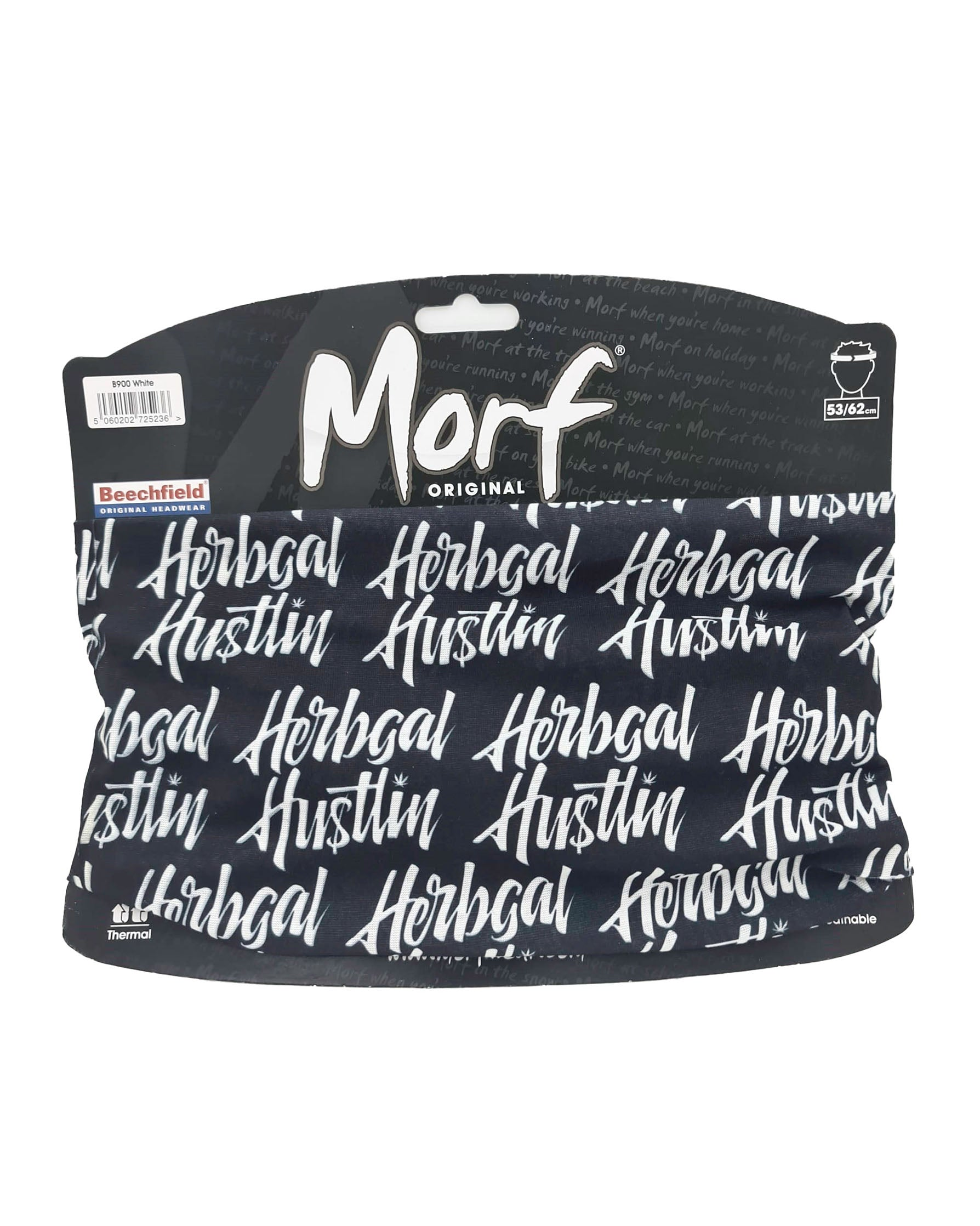 Herbgal Hustlin Script Face Covering/Bandana - Black/White