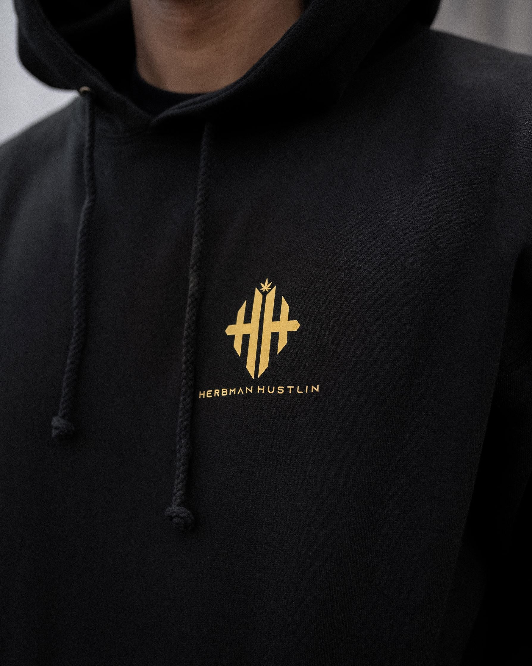 Herbman Hustlin Monogram Hoodie - Black/Gold - Back