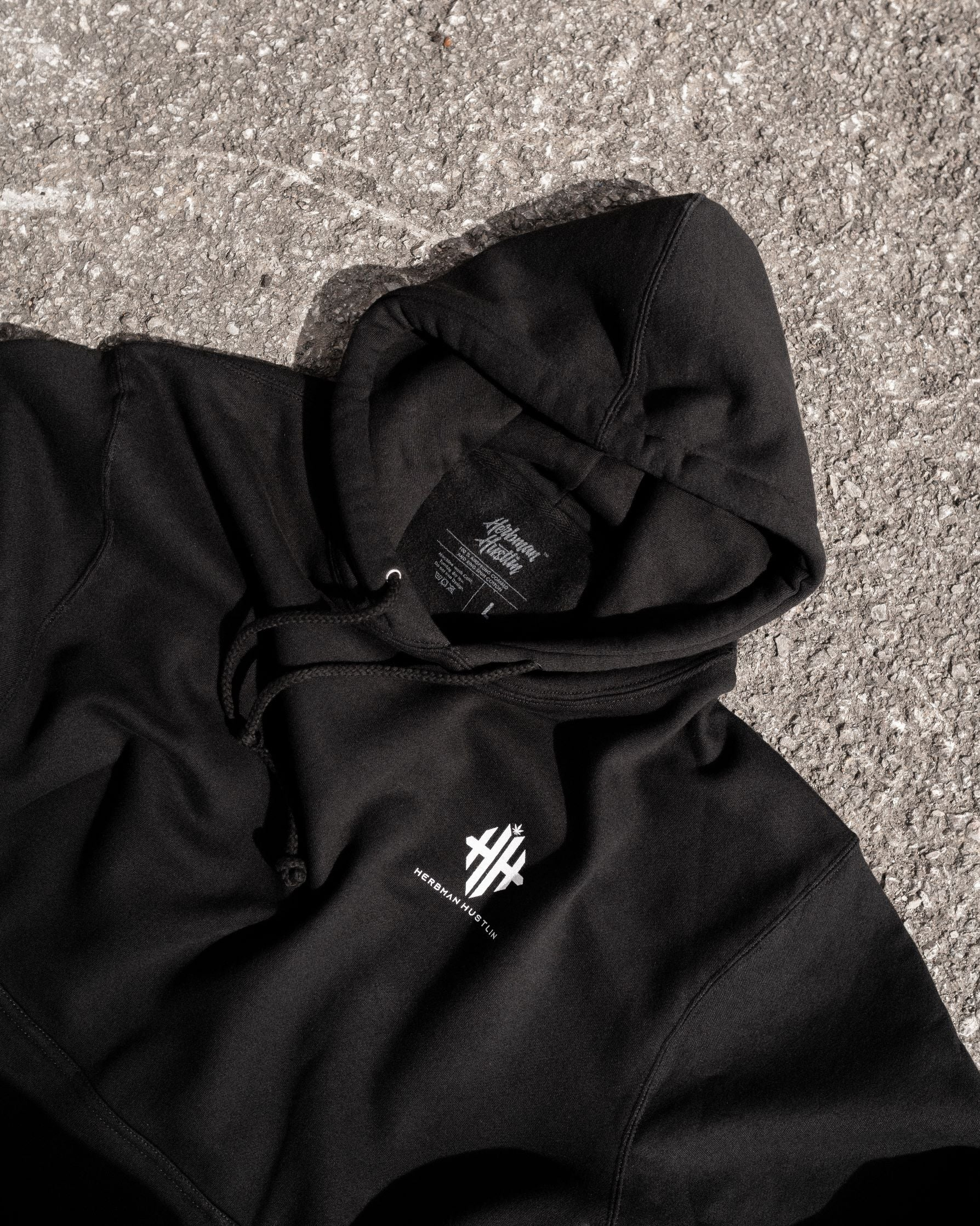 Herbman Hustlin Monogram Hoodie - Black/White - Back