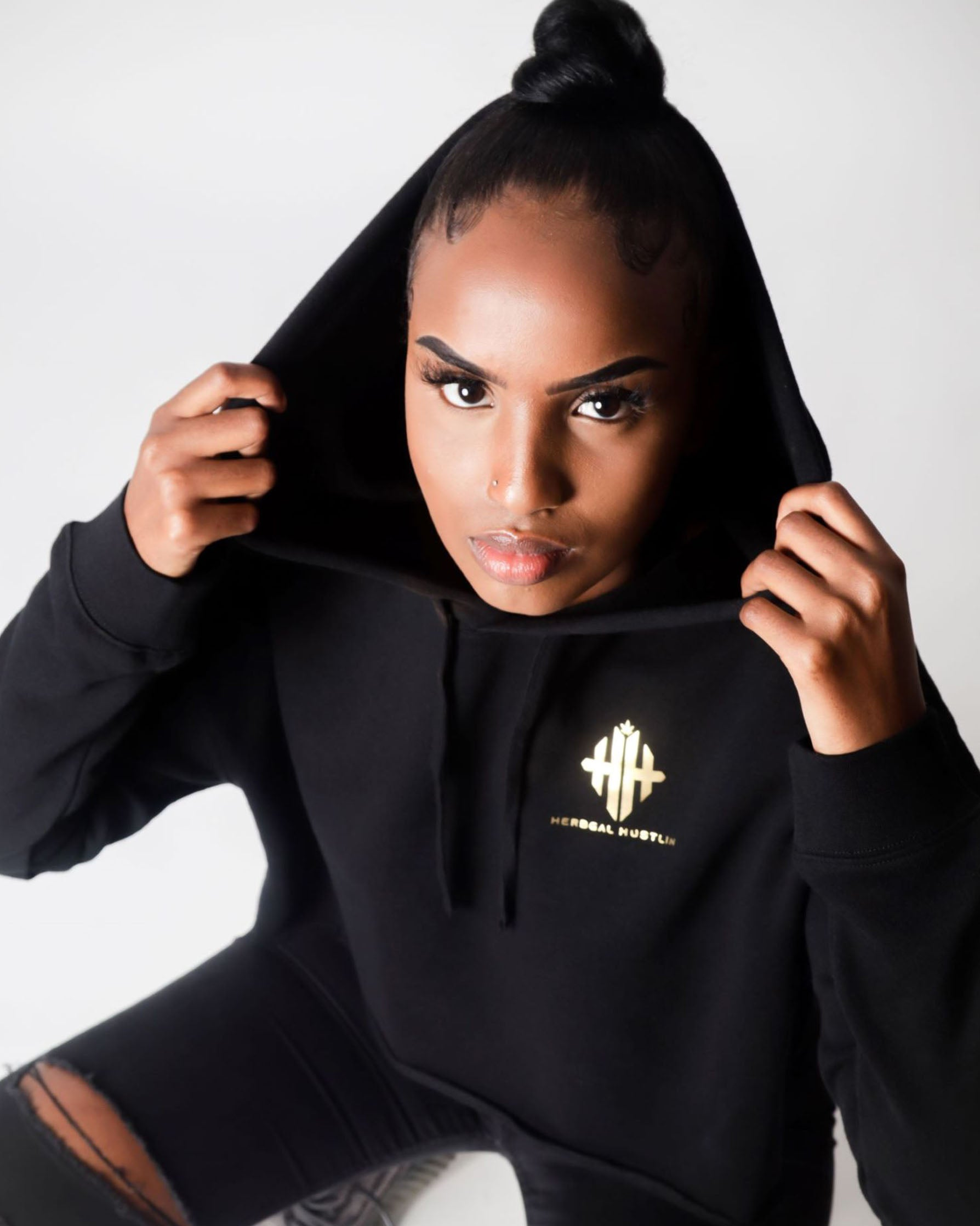 Herbgal Hustlin Monogram Cropped Hoodie - Black/Gold