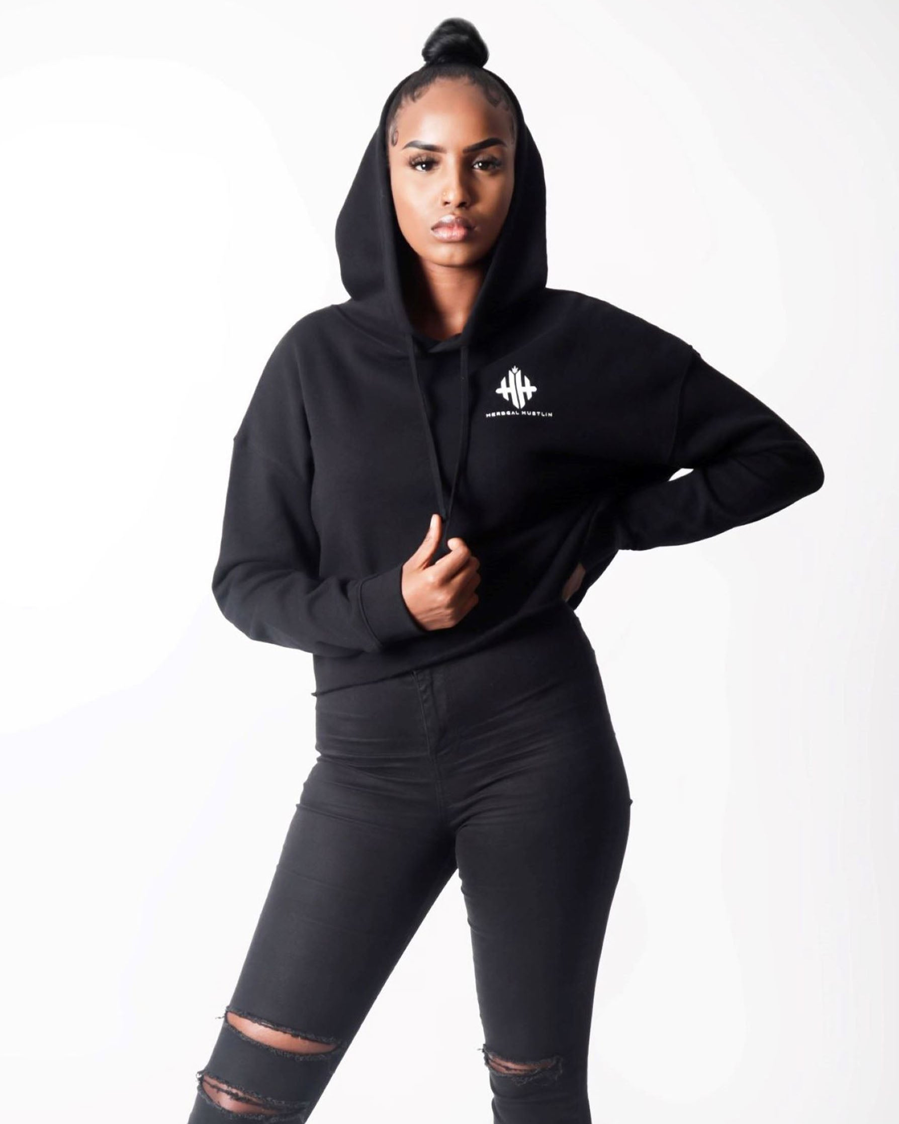 Herbgal Hustlin Monogram Cropped Hoodie - Black/White - Front
