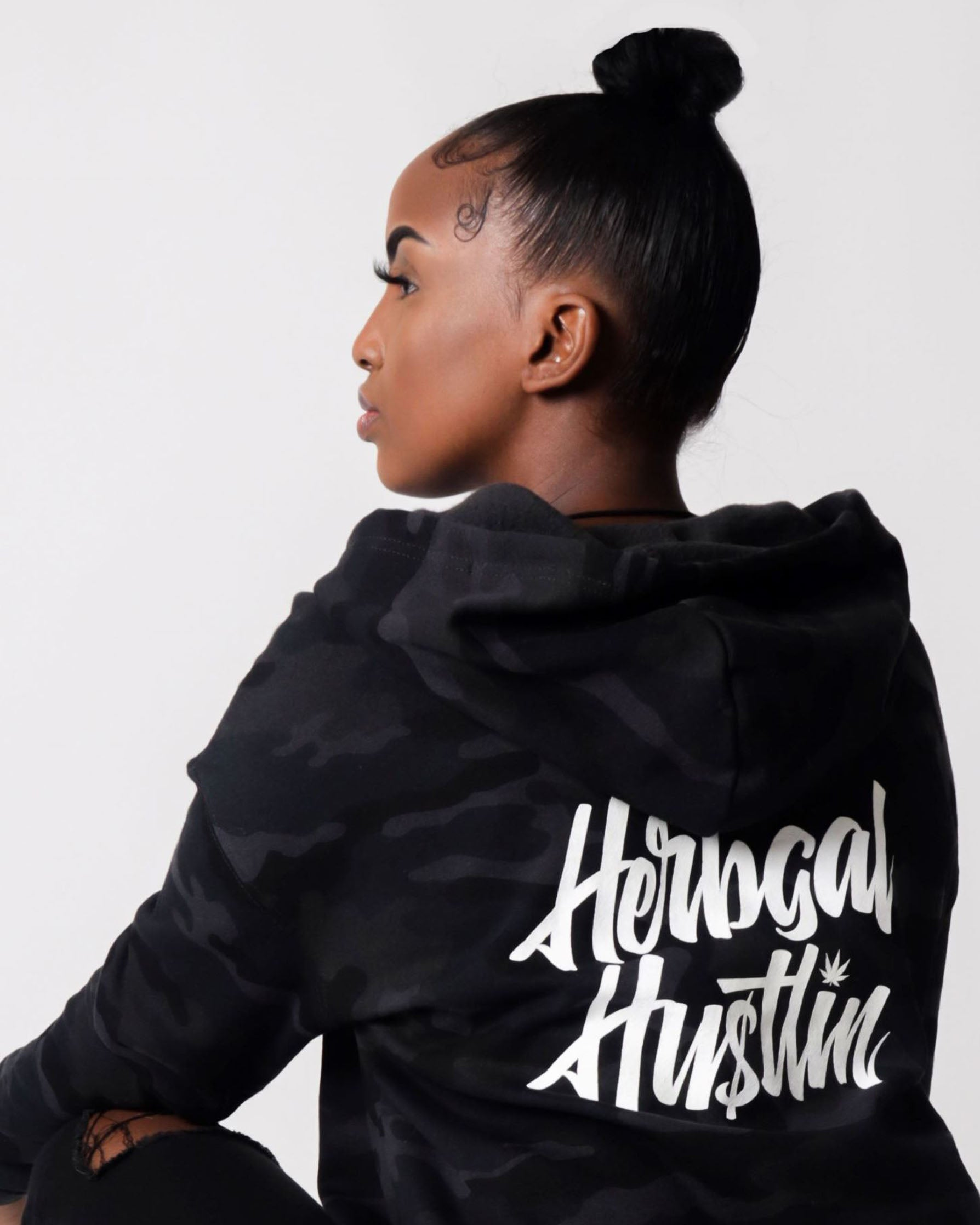 Herbgal Hustlin Script Cropped Hoodie - Black Camo/White