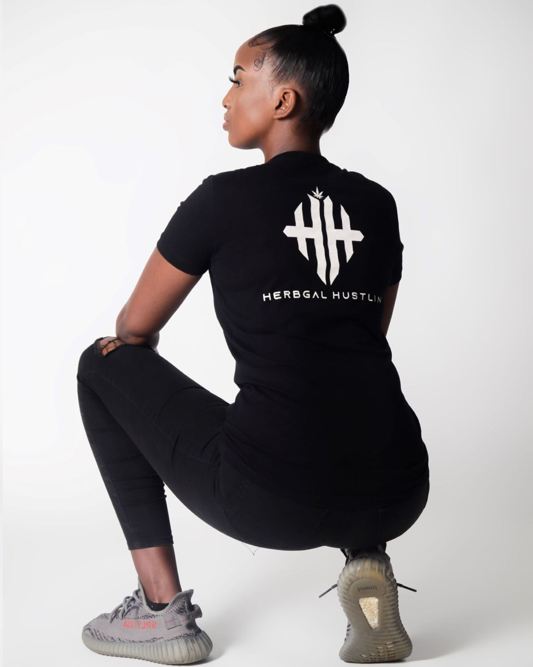 Herbgal Hustlin Monogram Fitted Ladies Tee - Black/White - Back
