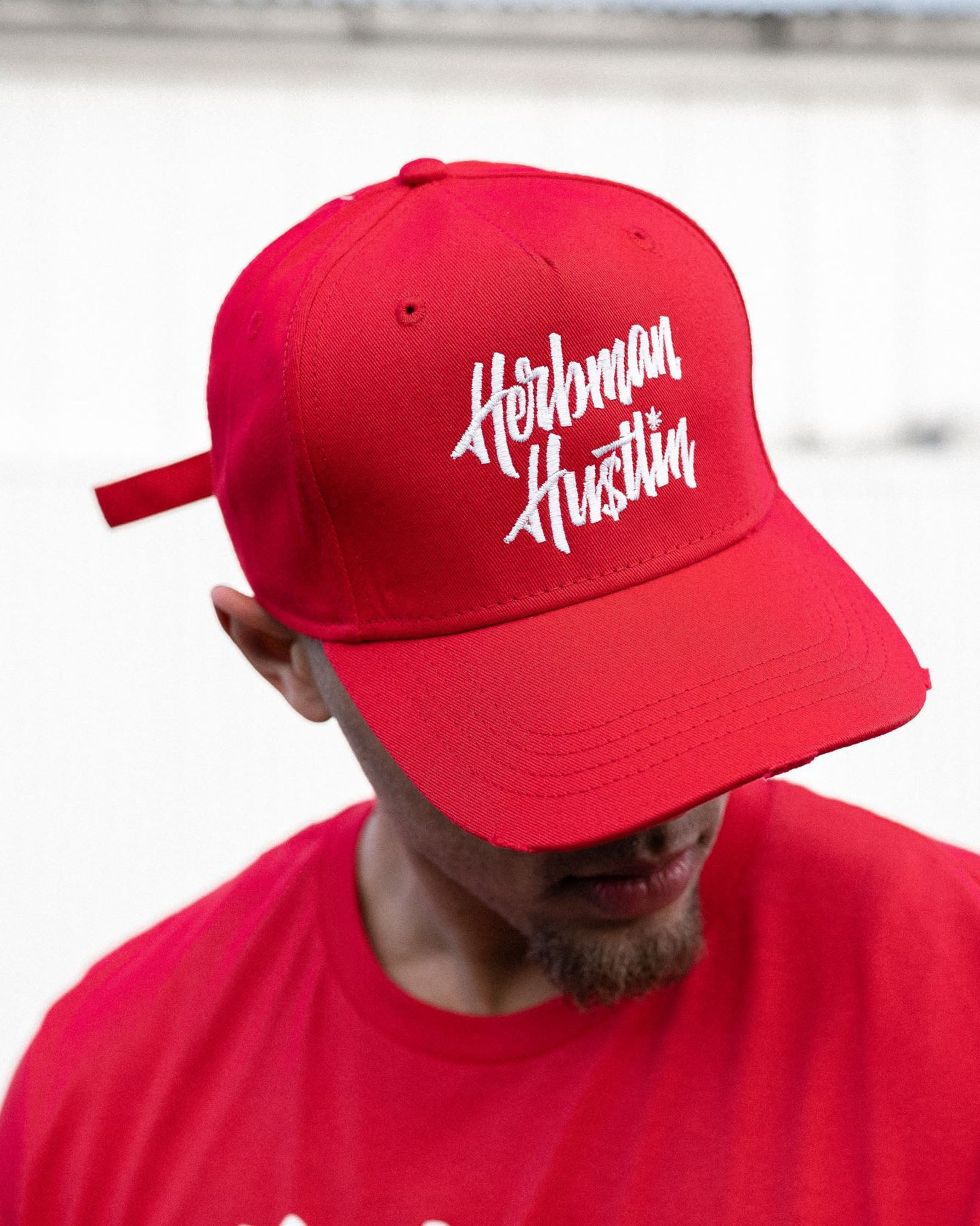 Herbman Hustlin Script Cap - Red/White