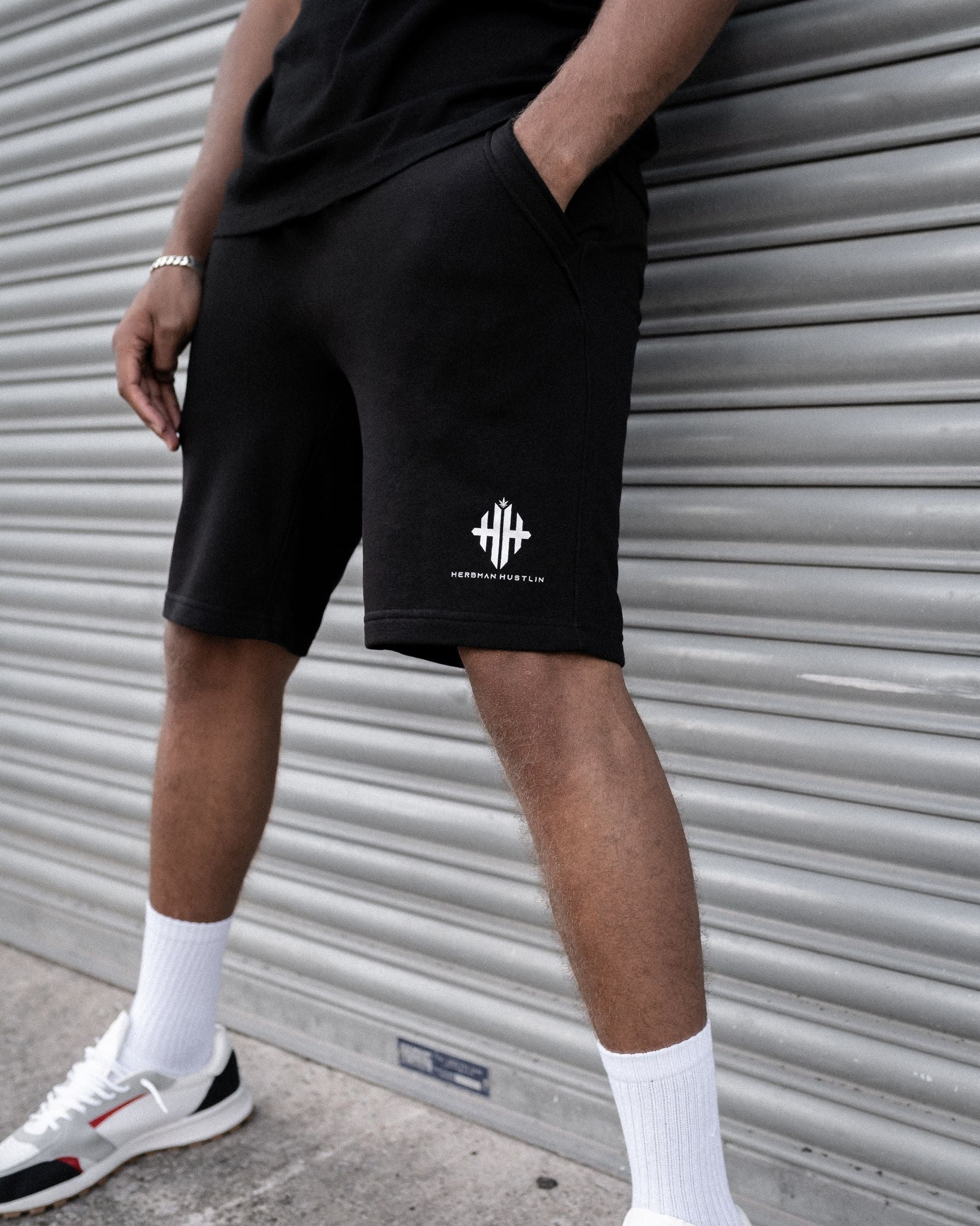 Herbman Hustlin Monogram Shorts - Black/White