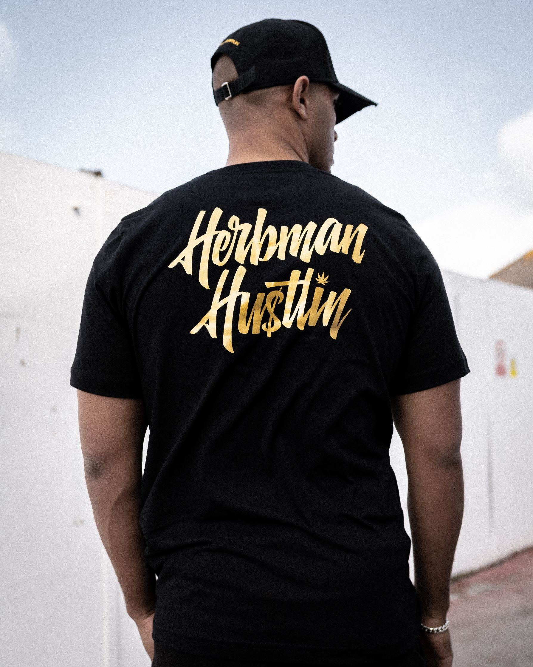 Herbman Hustlin Script Back Print Tee - Black/Gold - Back