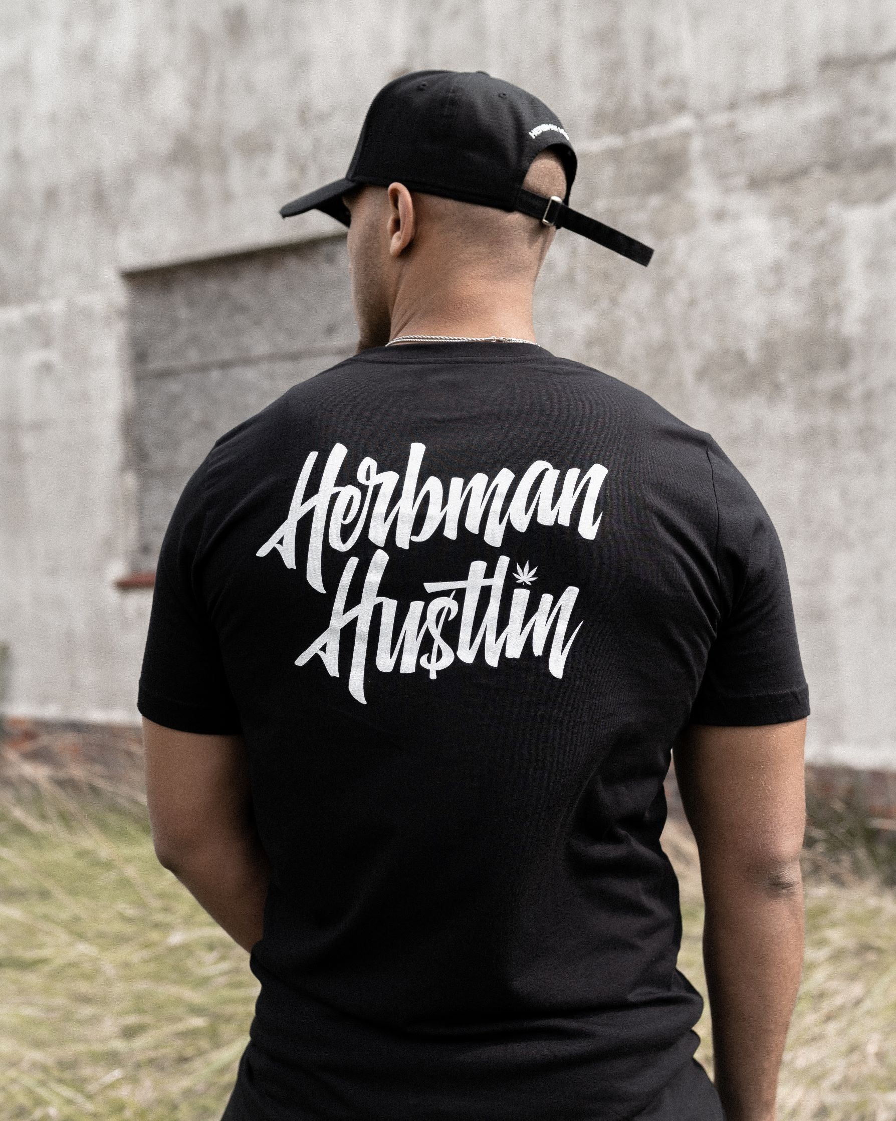 Herbman Hustlin Script Back Print Tee - Black/White - Back