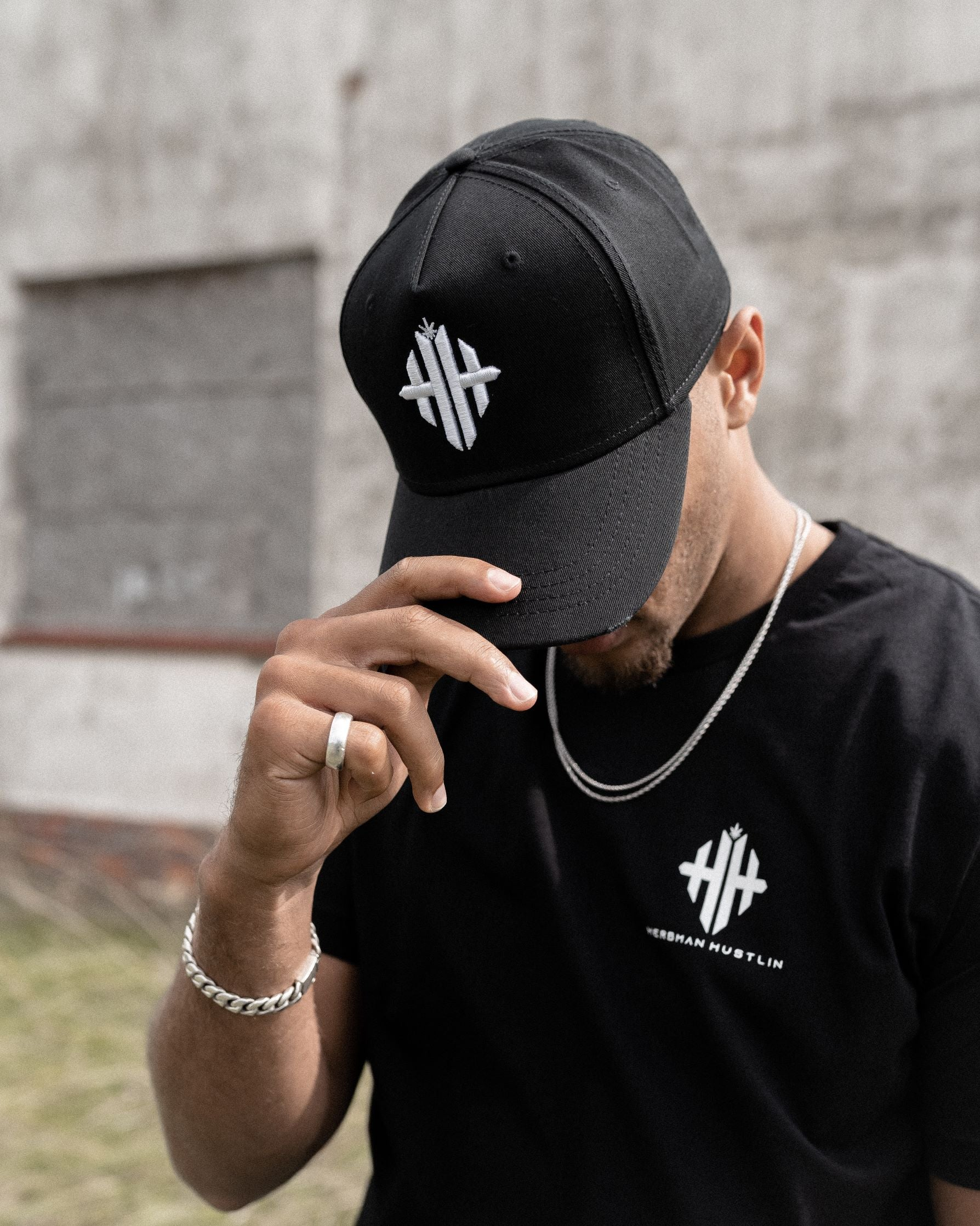 Herbman Hustlin Monogram Cap - Black/White