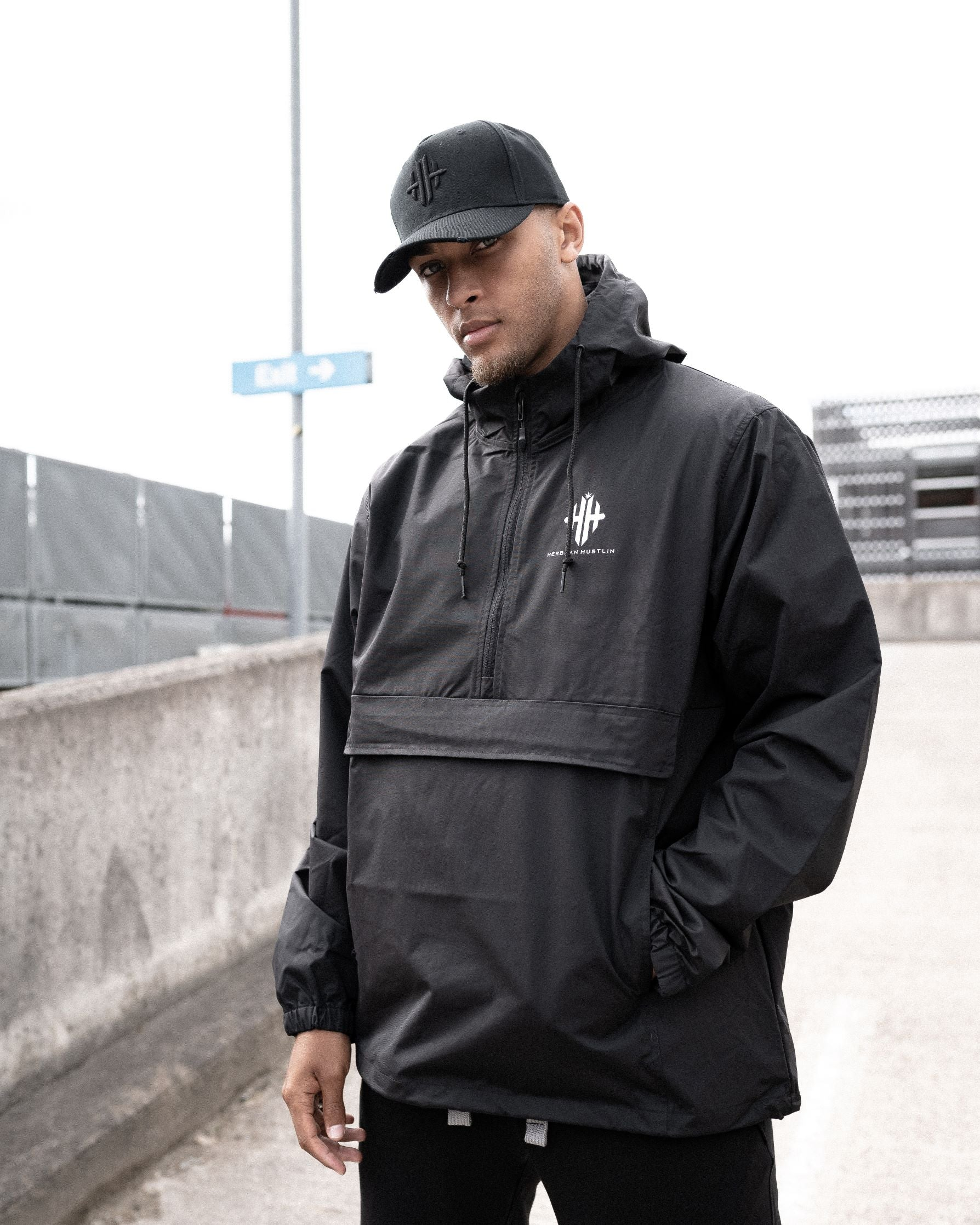 Herbman Hustlin Monogram Windbreaker - Black/White - Front