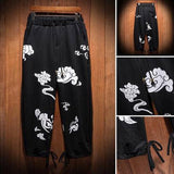 Cool Cloud Pattern Cotton Linen Pants