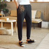 Cool Dragon Embroidery Drawstring Long Pants