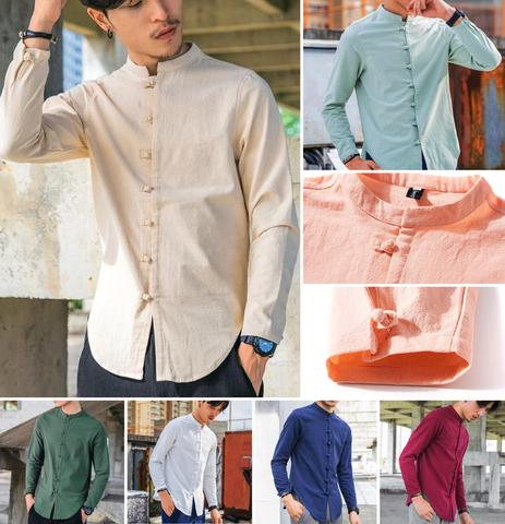 Awesome Traditional Button Style Long Sleeve Linen Shirt