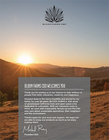 Bloom Farms CBD Welcome Guide
