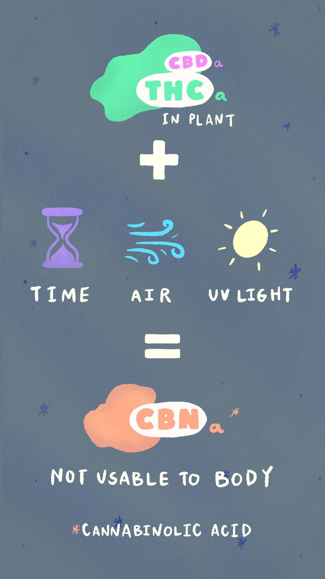 THCa in plant + time, air, UV light = CBNa, which is not usable to the body. *cannabinolic acid