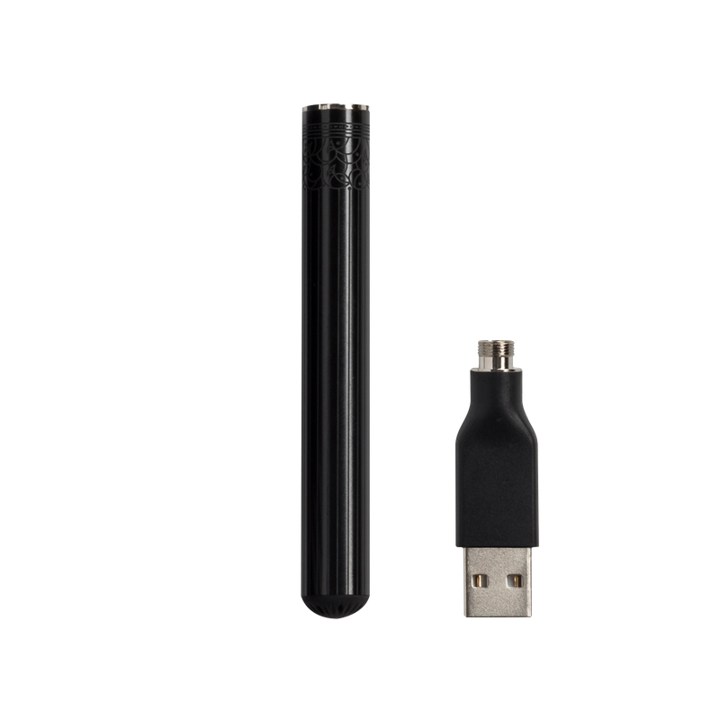 Best 510 Threaded Vape Pen Battery - Rechargeable, Black Metal Etched - Bloom Farms CBD