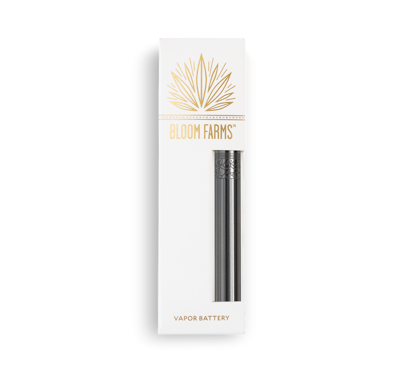 Bloom Farms CBD's convenient, USB rechargeable vape pen battery in shiny specialty silver.