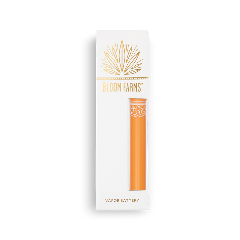 Orange vape battery in box - Bloom Farms CBD