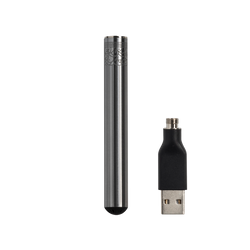 Silver Stainless Steel Rechargeable Vape Battery with Etching - Bloom Farms