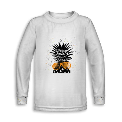 Messy Hair Don't Care Childrens Long Sleeve Tee | TinyHumanClothing.com