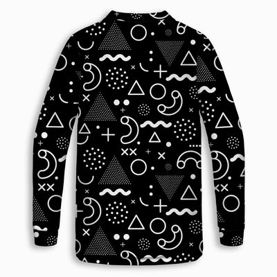 Retro Shapes B&W Childrens Long Sleeve Tee | TinyHumanClothing.com