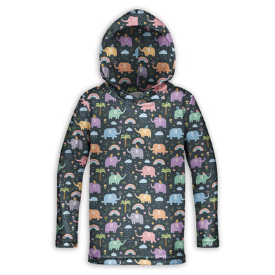 Rainy Day Elephants Childrens Lightweight Hoodie | TinyHumanClothing.com