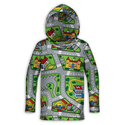 Toy Car Play Rug Childrens Lightweight Hoodie | TinyHumanClothing.com