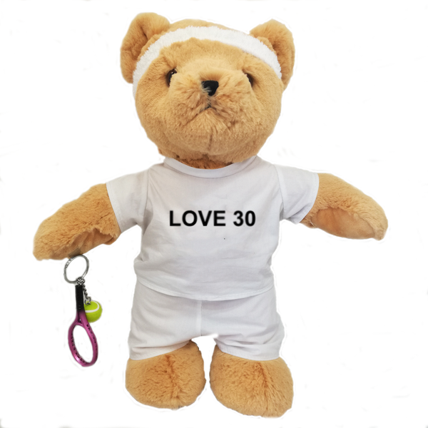 'Love 30' Birthday Tennis Bear - Boy