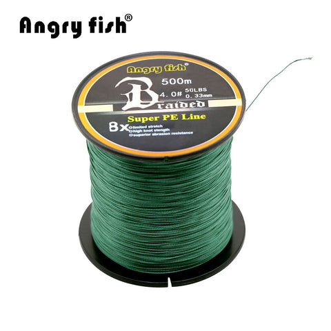 Angryfish Wholesale 500 Meters 8X Braided Fishing Line 11 Colors Super Strong PE Line